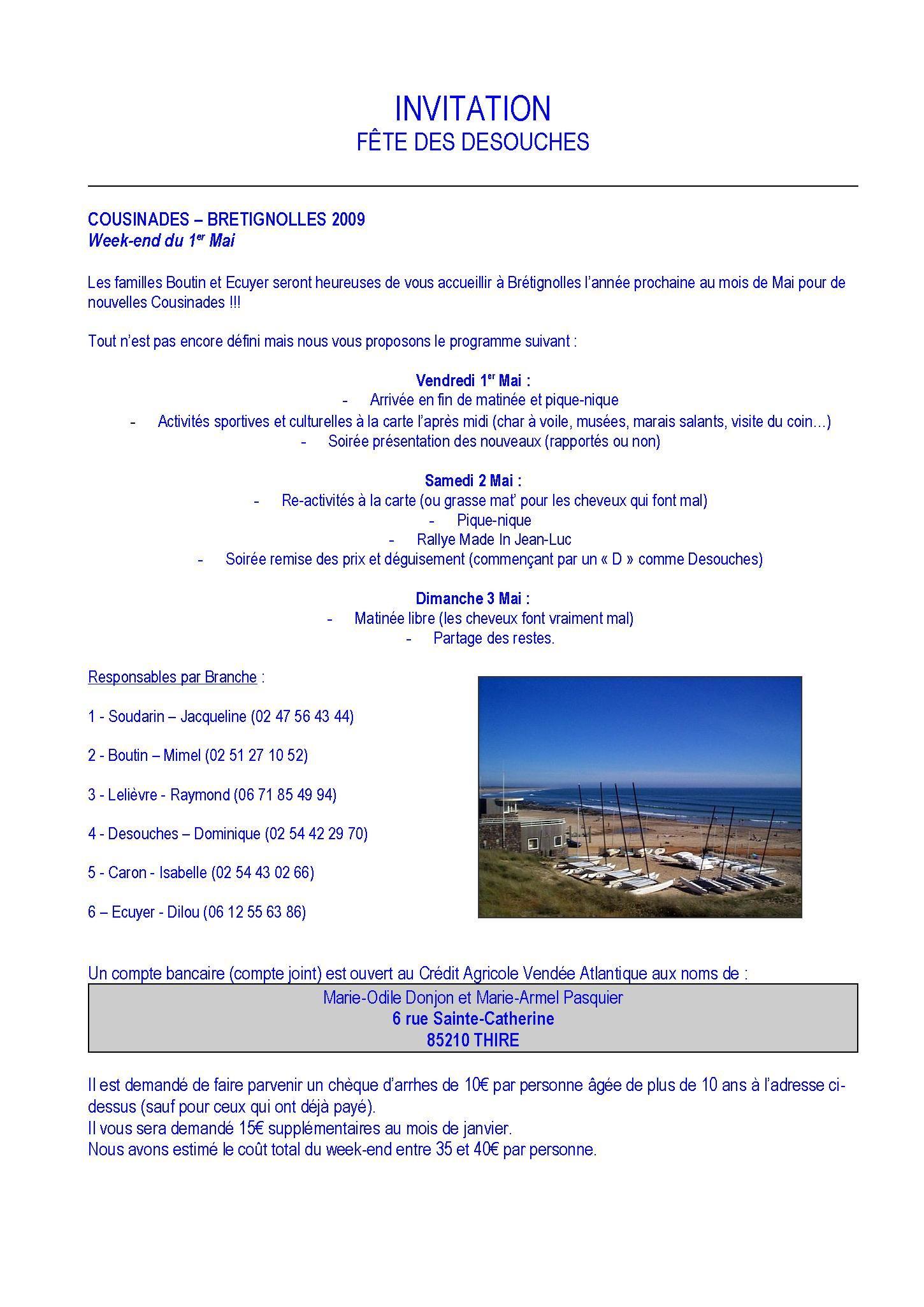 Invitation Aux Cousinades 2009 à Brétignolles